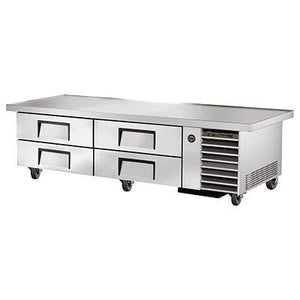 "True TRCB-79-86 Refrigerated Chef Base, 18 Gauge Stainless Steel Top with V Edge, 4 Drawers, 4"" Castors,115v"