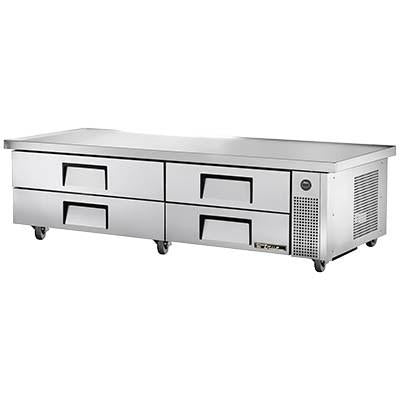 "True TRCB-82-86 Refrigerated Chef Base, 4 Drawers, 4"" Castors, 115v"
