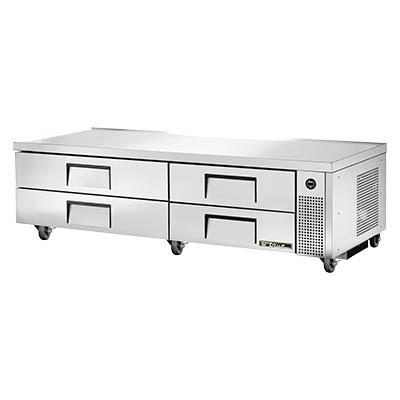 Refrigerated Chef Base, Stainless Steel Top with V Edge, 4 Drawers