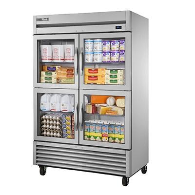 True TS-49G-4-HC~FGD01 Refrigerator, Reach-in, Two-Section, Framed Glass Door Version 01, 4 Glass Half Doors, 115v