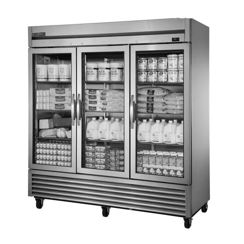 True TS-72G-HC~FGD01 Refrigerator, Reach-in, Three-Section, Framed Glass Door Version 01, 3 Glass Doors, 115v