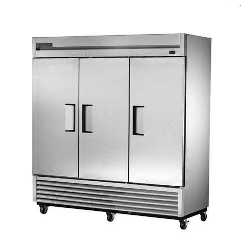 True TS-72-HC Refrigerator, Reach-In, Three-Section, 3 Stainless Steel Doors, 9 Gray PVC Coated Shelves, 115v