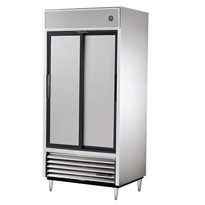 True TSD-33-HC Refrigerator, Reach-in, 2 Stainless Steel Sliding Doors, 6 PVC Coated Shelves, 115v
