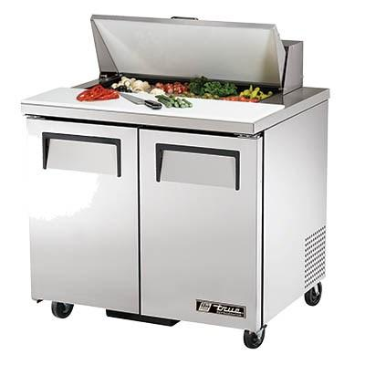 "36"" Sandwich/Salad Prep Table, Two Section, with Stainless Steel Cover"