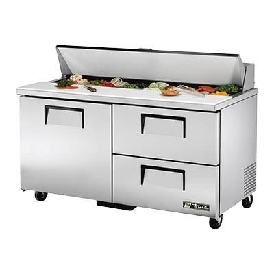 "True TSSU-60-16D-2-HC 60"" Sandwich/Salad Prep Table with Refrigerated Base, 115v"