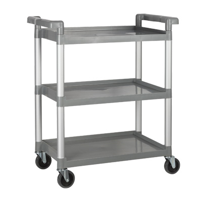 Winco UC-2415G 3 Level Plastic Utility Cart w/ 330 lb Capacity, Raised Ledges