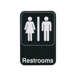 "Winco SGN-603 Information Sign, with symbol, 6"" x 9"", ""Restrooms"", white imprint on black"