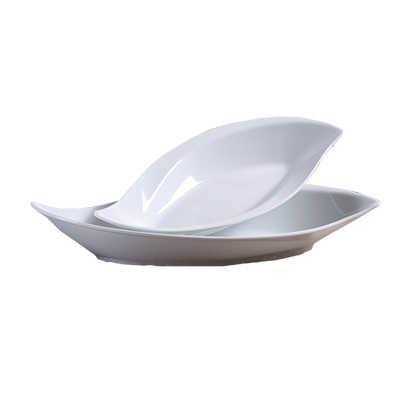 "Yanco VE-519 Venice Plate, 48 oz., deep, 19""L x 9""W, leaf shape, melamine, white"