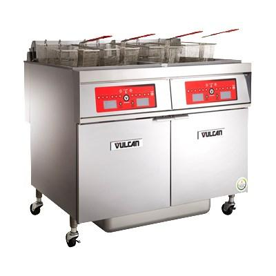 Vulcan 2ER50AF 100 Lb. Capacity 2-Unit Electric Floor Fryer System with Filtration, 480V