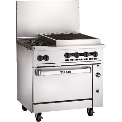 "Vulcan 36C-2B24CBP Endurance 36"" 2 Burner Gas Range, Charbroiler and Convection Oven, Liquid Propane"