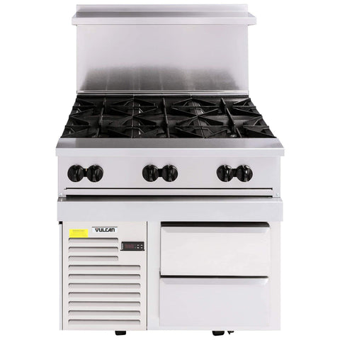 "Vulcan 36R-6B Endurance 36"" 6 Burner Gas Range and Refrigerated Base"