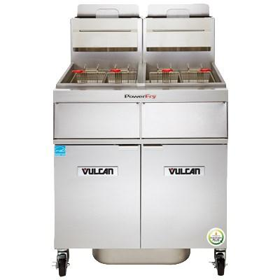 Vulcan 3TR45DF PowerFry3 135-150 Lb. Capacity 3-Unit Gas Fryer System with Filtration, 210,000 BTU, NSF