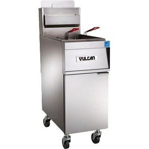 Vulcan 4TR45CF PowerFry3 180-200 Lb. Capacity 4-Unit Gas Fryer System with Filtration, 280,000 BTU, NSF