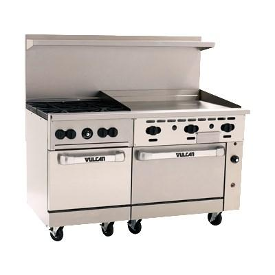 "Vulcan 60SS-4B36G Endurance 4 Burner 60"" Gas Range with 36"" Manual Griddle and 2 Standard Ovens"