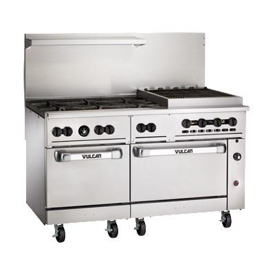 "Vulcan 60SS-6B24CBN Endurance 6 Burner 60"" Range with 24"" Charbroiler and 2 Standard Ovens, Natural Gas"