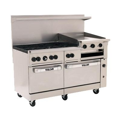 "Vulcan 60SS-6B24GBN Endurance 6 Burner 60"" Range with 24"" Griddle/Broiler and 2 Standard Ovens, Natural Gas"