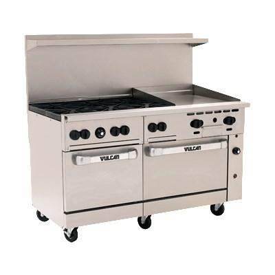 "Vulcan 60SS-6B24GT Endurance 6 Burner 60"" Gas Range with 24"" Thermostatic Griddle and 2 Standard Ovens"