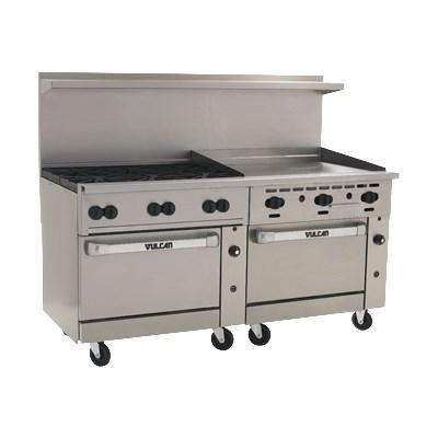 "Vulcan 72SS-6B36G Endurance 6 Burner 72"" Gas Range with 36"" Manual Griddle, 2 Standard Oven Bases"