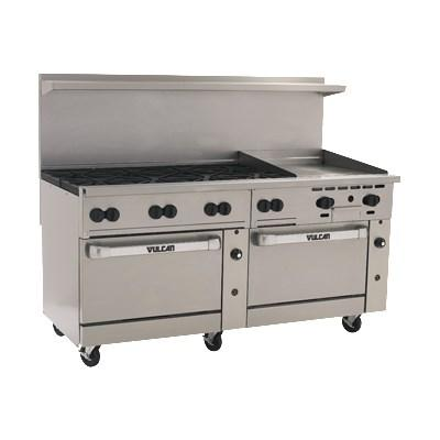 "Vulcan 72SS-8B24GT Endurance 8 Burner 72"" Gas Range with 24"" Thermostatic Griddle, 2 Standard Oven Bases"