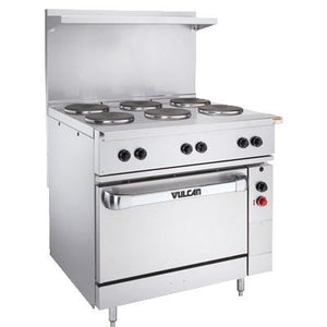 "Vulcan EV36S-6FP-480 36"" Electric Range with Standard Oven and 6 French Plates, 480v"