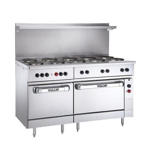 "Vulcan  EV60SS-10FP-480 60"" Electric Range with 2 Standard Ovens and 10 French Plates, 480v"