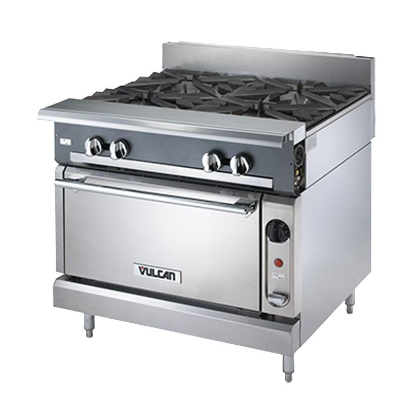 "Vulcan V2BG8TS Heavy Duty Range, 36""W, Standard Oven, 2 Burners, 18"" Thermostatic Griddle"