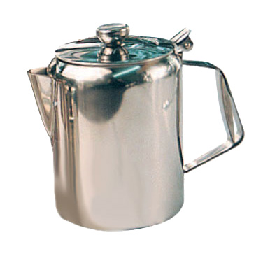 Winco W670 Beverage Server, 70 oz., short spout, hinged top, handle, stainless steel, mirror finish
