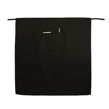 "Winco WA-3129K Bistro Waist Apron, 31"" x 29-1/2"", with pockets for pen and pad, machine wash and dry, wrinkle resistant, cotton/poly blend, black"