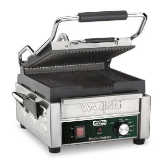Waring WPG150 Compact Panini Grill, electric, single, ribbed cast iron plates, 120v/60/1-ph