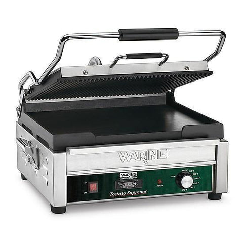Waring WDG250T Dual Surface Panini Grill, ribbed top & flat bottom grill, 120v, 15amps