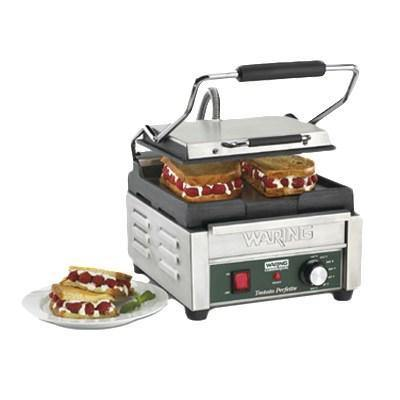 Waring WFG150T Tostato Perfetto, Smooth Top & Bottom Panini Sandwich Grill, 120V