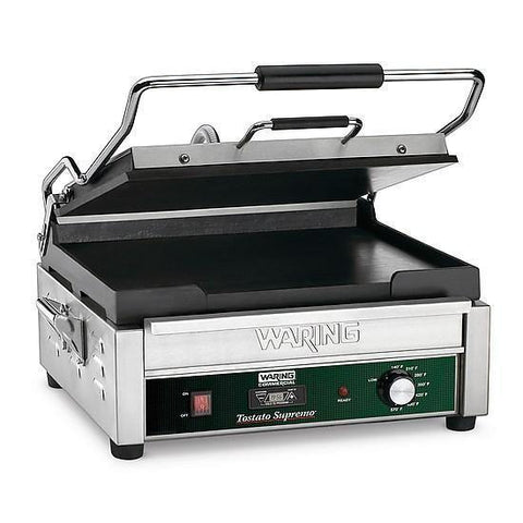 Waring WFG250T Single Commercial Panini Press, flat cast iron plates, 120v/60/1-ph
