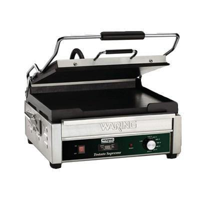 Waring WFG275T Single Commercial Panini Press, flat cast iron surface, 120v/60/1-ph