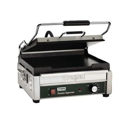 Waring WFG275 Single Commercial Panini Press, Cast Iron Smooth Plates, 120v/60/1-ph