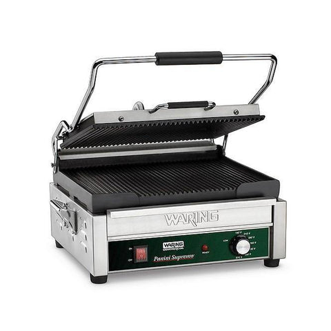 Waring WPG250B Large Panini Grill, ribbed cast iron plates, 208v/60/1-ph
