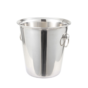"Winco WB-4 Wine Bucket, 4 qt., 7-1/2"" dia. x 8""H, stainless steel, mirror finish"