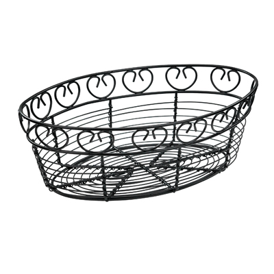 "Winco WBKG-10O Bread/Fruit Basket, 10"" x 6-1/2"" x 3""H, oval, wire construction, black"