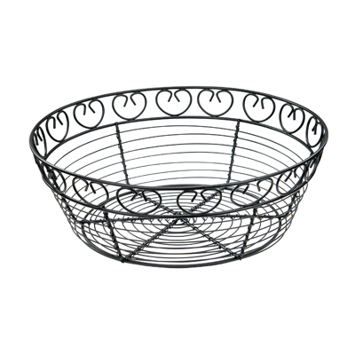 "Winco WBKG-10R Bread/Fruit Basket, 10"" dia. x 3""H, round, wire construction, black"