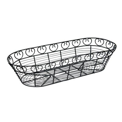 "Winco WBKG-15 Bread/Fruit Basket, 15"" x 6-1/4"" x 3""H, long oval, wire construction, black"