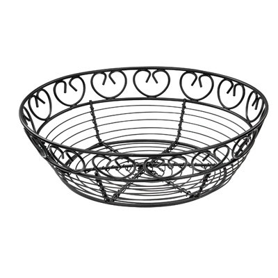 "Winco WBKG-8R Bread/Fruit Basket, 8"" dia. x 2-1/4""H, round, wire construction, black"