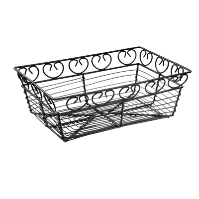 "Winco WBKG-9 Bread/Fruit Basket, rectangular, 9"" x 5-7/8"" x 3""H, wire construction, black"