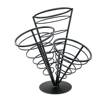"Winco WBKH-10 French Fry Basket, 5-1/8"" dia. x 10-3/4""H, round, 3-cone basket, wire construction, black"