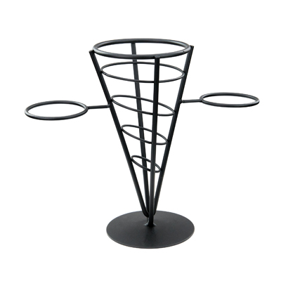 "Winco WBKH-5 French Fry Basket, 4-5/8"" dia. x 9-3/8""H, round, holds (2) 2 oz. 2-5/8"" dia. ramekins, conical, wire, black"