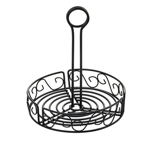 "Winco WBKH-6R Condiment Caddy, 6-1/4"" dia. x 9""H, round, wire construction, black"