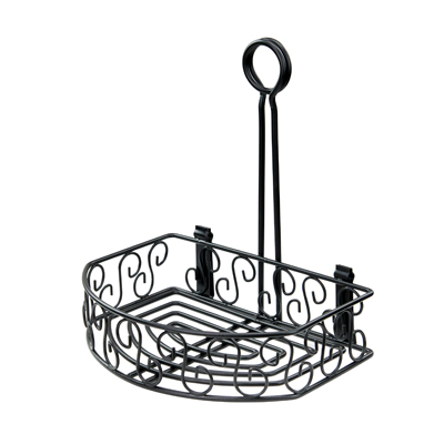 "Winco WBKH-6SB Condiment Caddy, 8-1/4"" x 6-1/4"" x 9""H, straight back, wire construction, black"