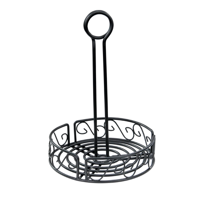 "Winco WBKH-7R Condiment Caddy, 7-1/2"" dia. x 9""H, round, wire construction, black"