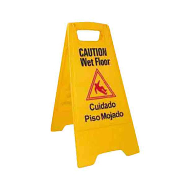 "Winco WCS-25 Wet Floor Caution Sign, 12"" x 25"" high, English/Spanish, yellow"