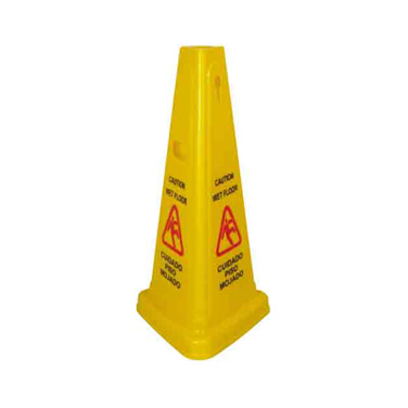 "Winco WCS-27T Wet Floor Caution Sign, 27"" high, tri-cone"