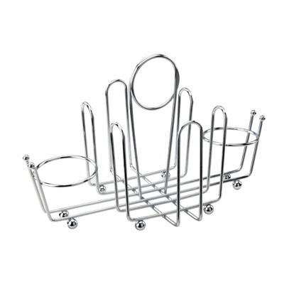 Winco WH-1 Condiment Holder, chrome plated wire with ball feet and center clip, accommodates sugar packet holders and salt/pepper shaker (G-110 and G-111)