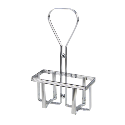 Winco WH-5 Oil & Vinegar Cruet Rack, square, holds (2) 6 oz. square cruets (G-104), chrome plated metal
